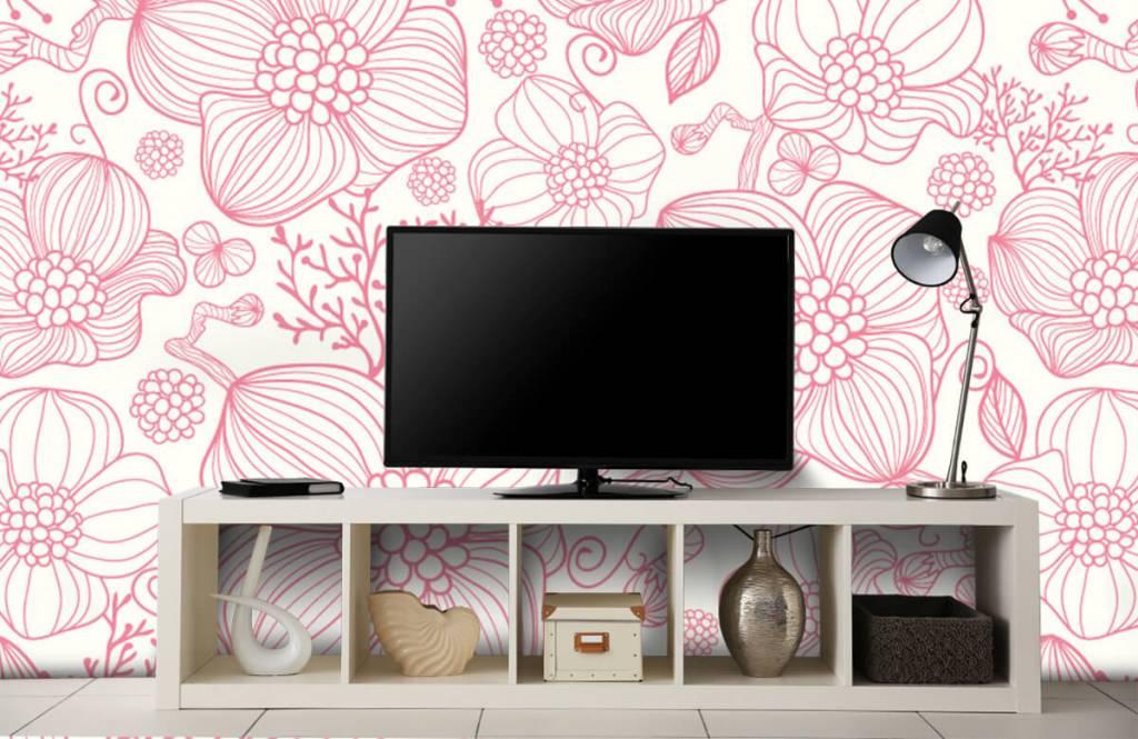 Muster für Kinderzimmer - Große rosa Blüten - Schlafzimmer 4