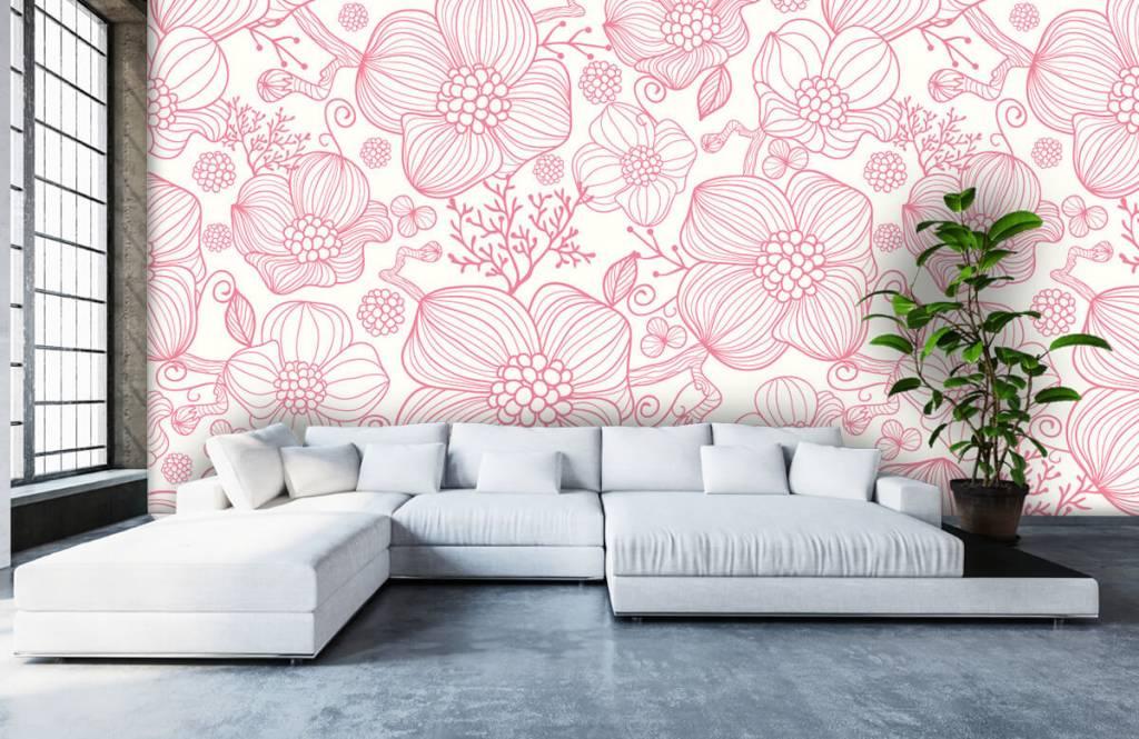 Muster für Kinderzimmer - Große rosa Blüten - Schlafzimmer 5