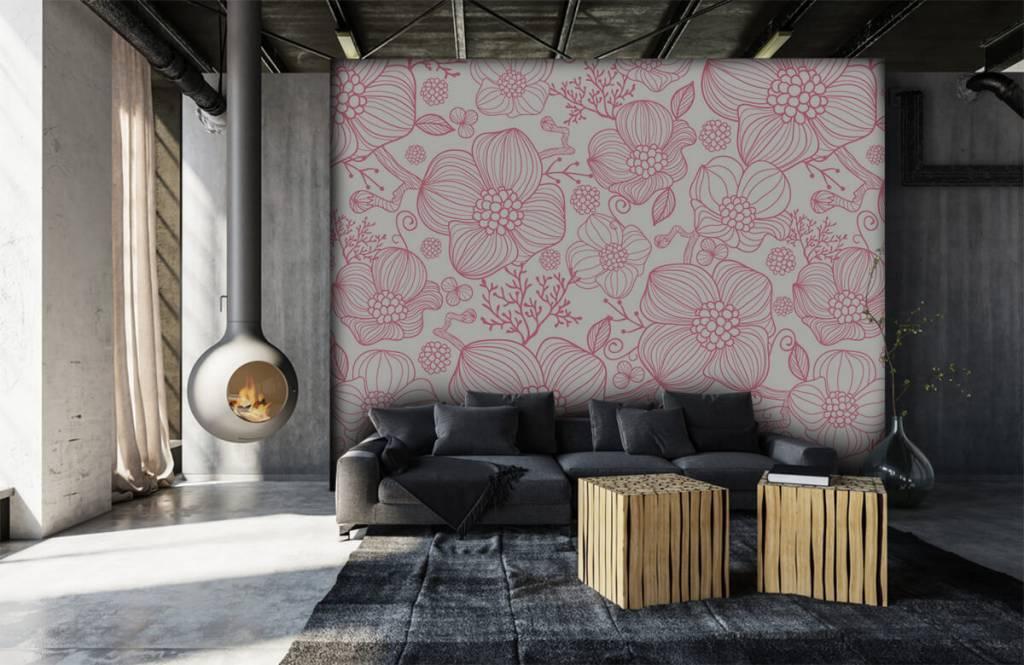 Muster für Kinderzimmer - Große rosa Blüten - Schlafzimmer 6