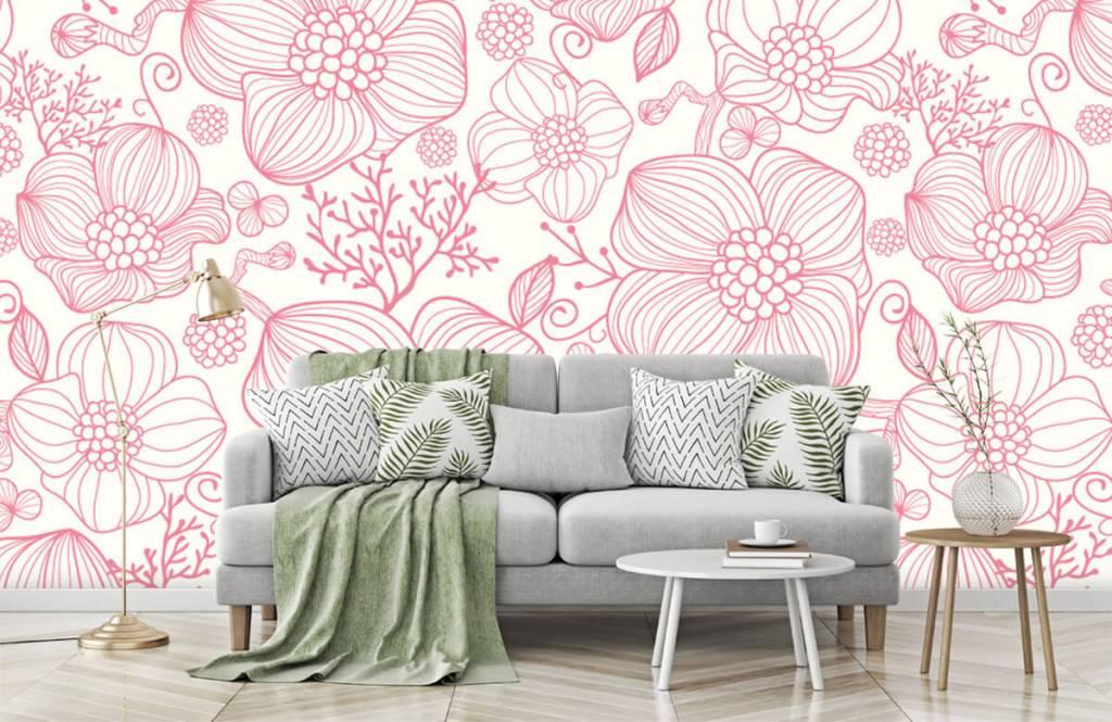Muster für Kinderzimmer - Große rosa Blüten - Schlafzimmer 7