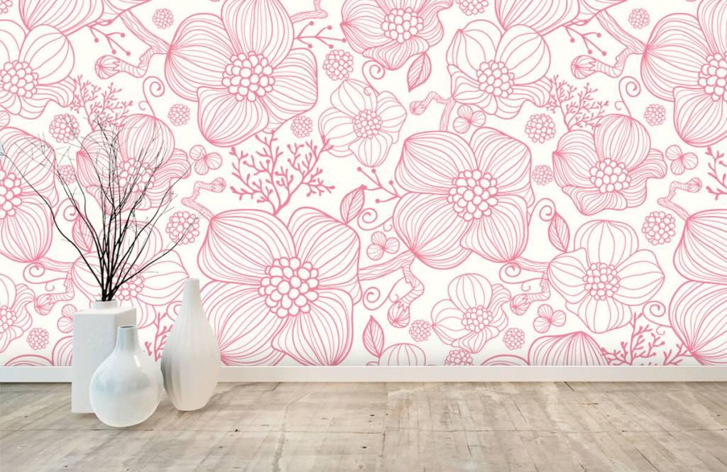 Muster für Kinderzimmer - Große rosa Blüten - Schlafzimmer 8