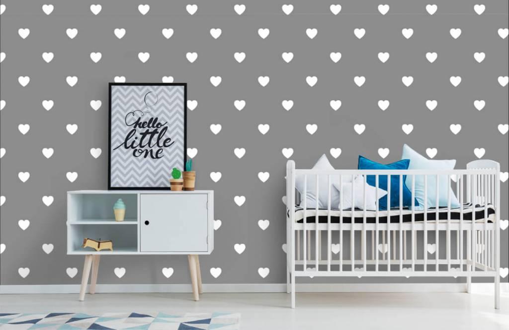 Baby Tapete - Kleine weiße Herzen - Babyzimmer 1
