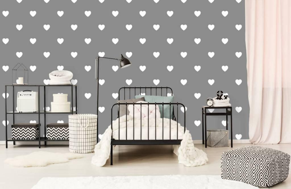 Baby Tapete - Kleine weiße Herzen - Babyzimmer 2