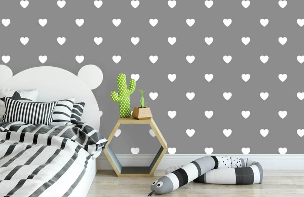 Baby Tapete - Kleine weiße Herzen - Babyzimmer 3