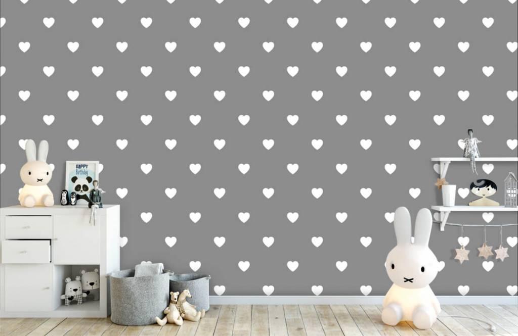 Baby Tapete - Kleine weiße Herzen - Babyzimmer 5