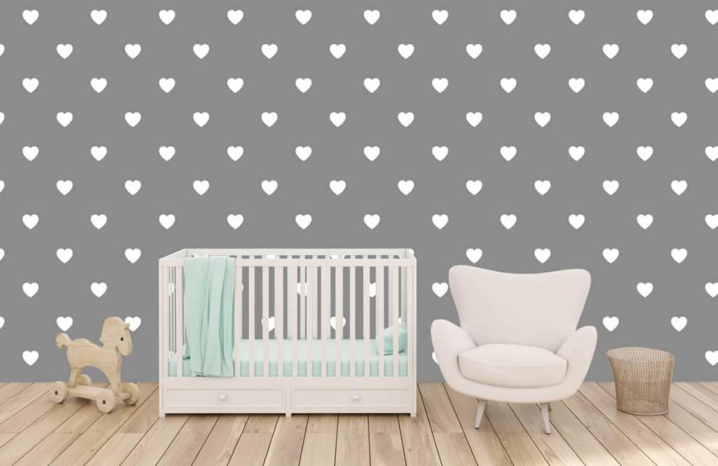 Baby Tapete - Kleine weiße Herzen - Babyzimmer 6
