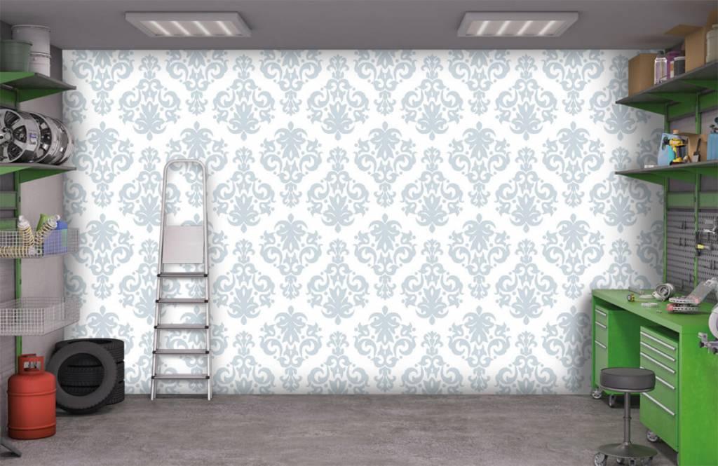Barock Tapete - Hellblauer Barock - Schlafzimmer 9
