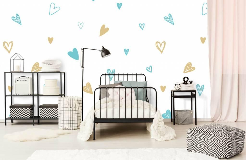 Andere - Minzfarbene und goldene Herzen - Kinderzimmer 2