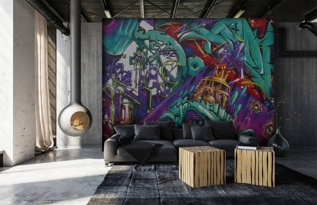 Graffiti - Tapete mit modernen Graffiti - Jugendzimmer 7