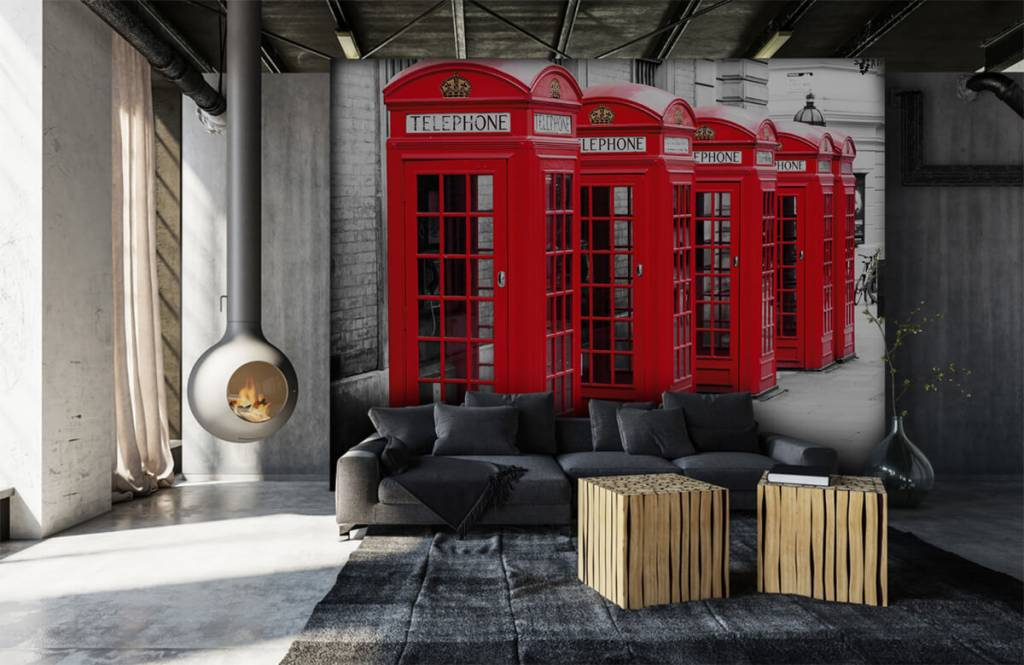 Schwarzweiß Tapete - Telefonzellen - Jugendzimmer 7
