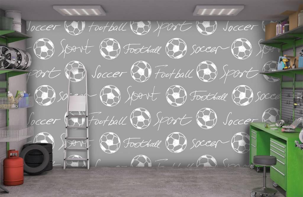 Fußball Tapete - Fußbälle und Text - Kinderzimmer 1