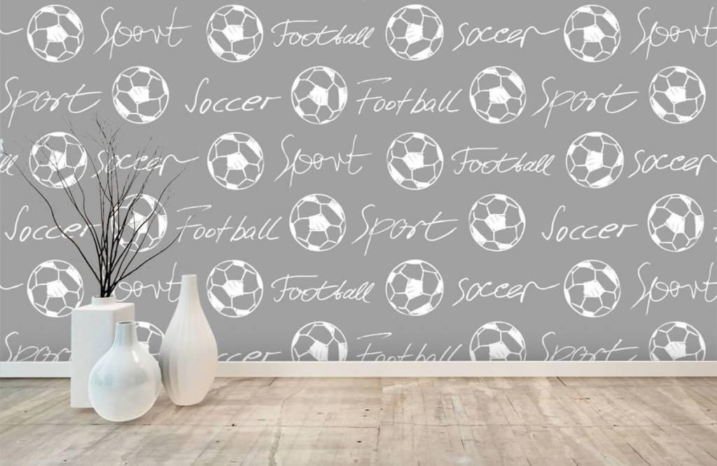 Fußball Tapete - Fußbälle und Text - Kinderzimmer 2