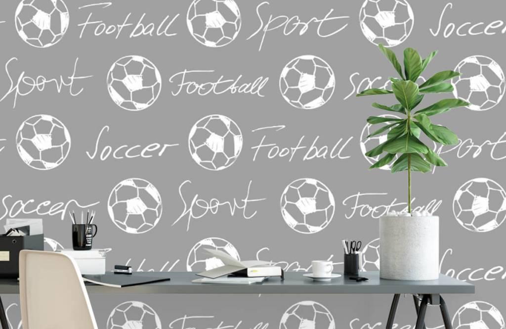 Fußball Tapete - Fußbälle und Text - Kinderzimmer 3