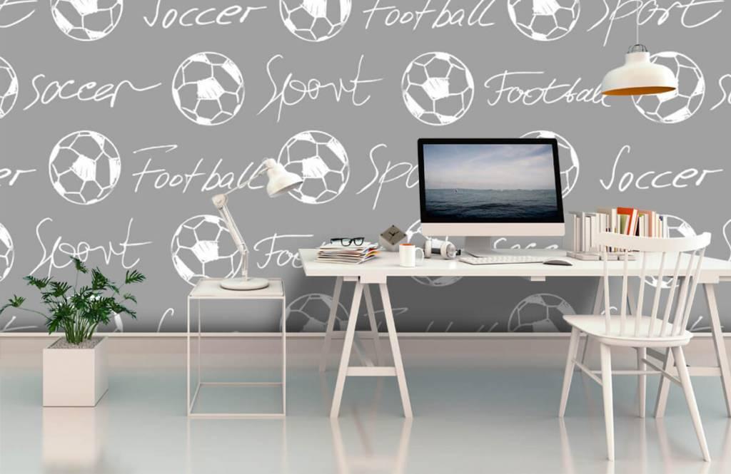 Fußball Tapete - Fußbälle und Text - Kinderzimmer 4