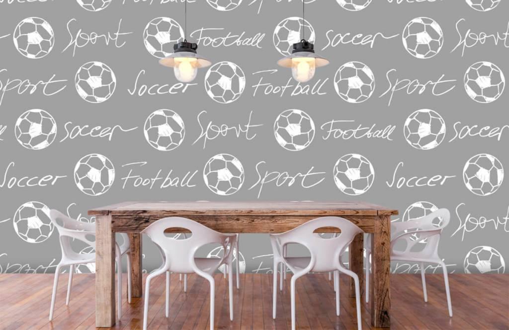 Fußball Tapete - Fußbälle und Text - Kinderzimmer 6