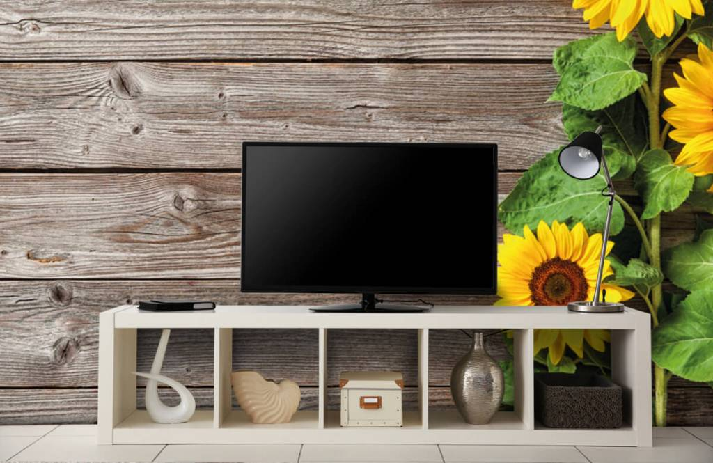 Sonnenblume - Sonnenblumen und Holz - Garage 4