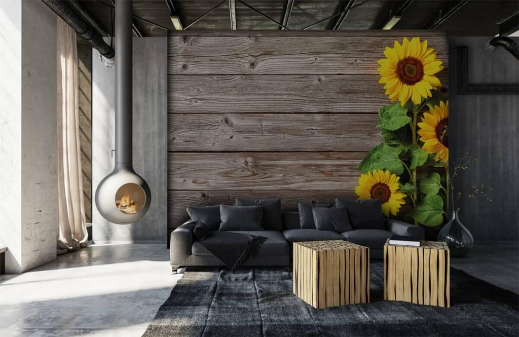 Sonnenblume - Sonnenblumen und Holz - Garage 6