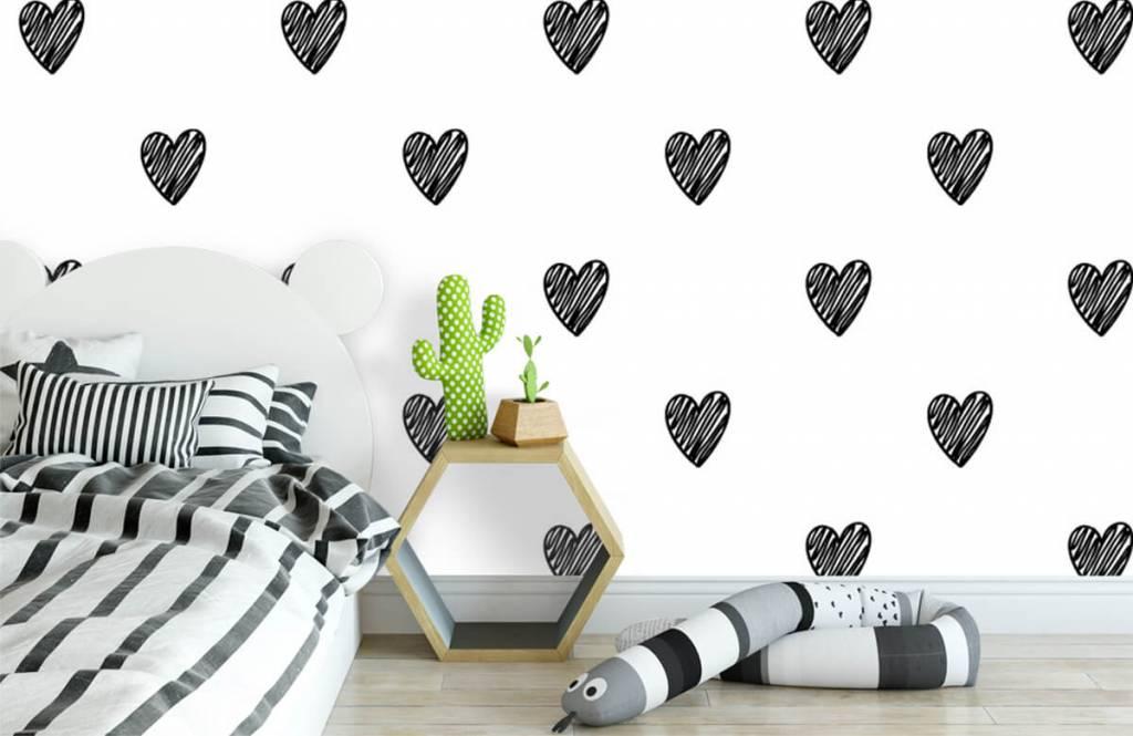 Schwarzweiß Tapete - Gezeichnete Herzen, schwarz - Kinderzimmer 1