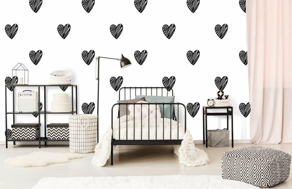 Schwarzweiß Tapete - Gezeichnete Herzen, schwarz - Kinderzimmer 2