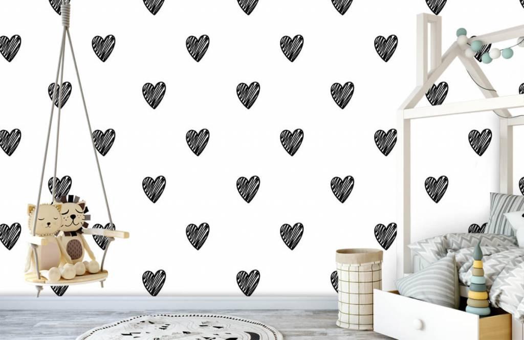 Schwarzweiß Tapete - Gezeichnete Herzen, schwarz - Kinderzimmer 3