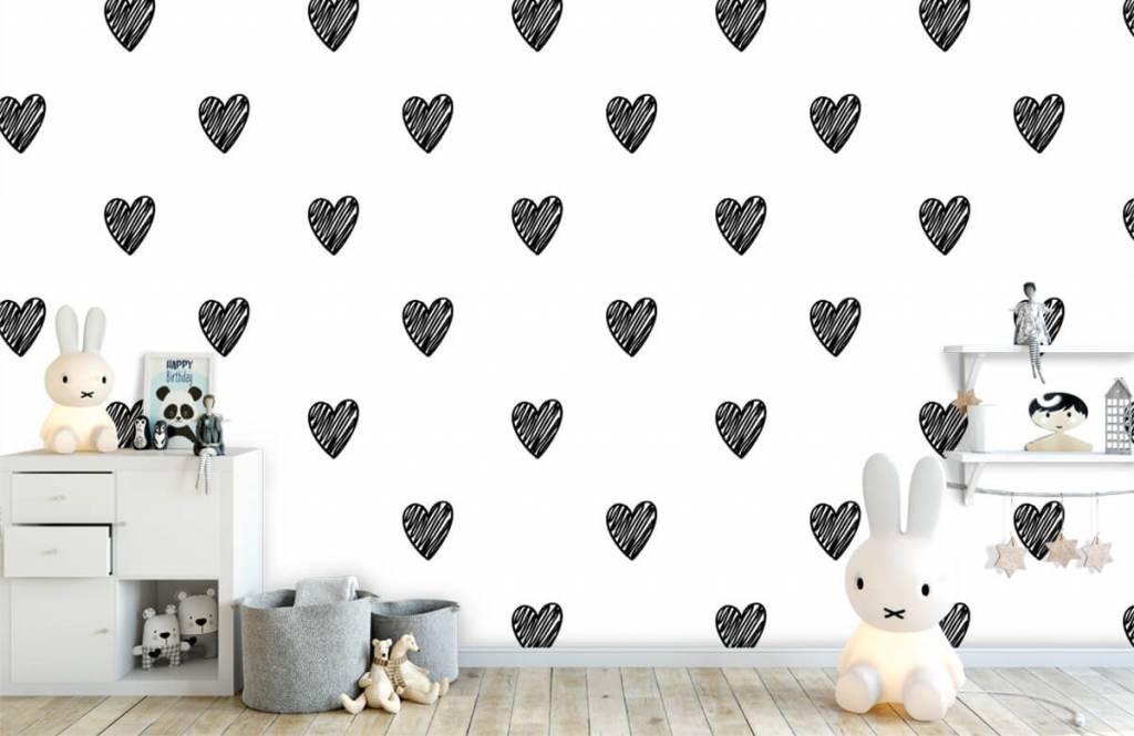 Schwarzweiß Tapete - Gezeichnete Herzen, schwarz - Kinderzimmer 4