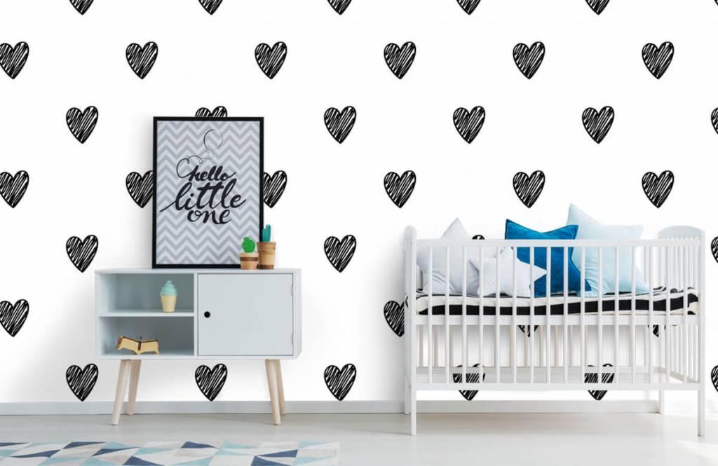 Schwarzweiß Tapete - Gezeichnete Herzen, schwarz - Kinderzimmer 6
