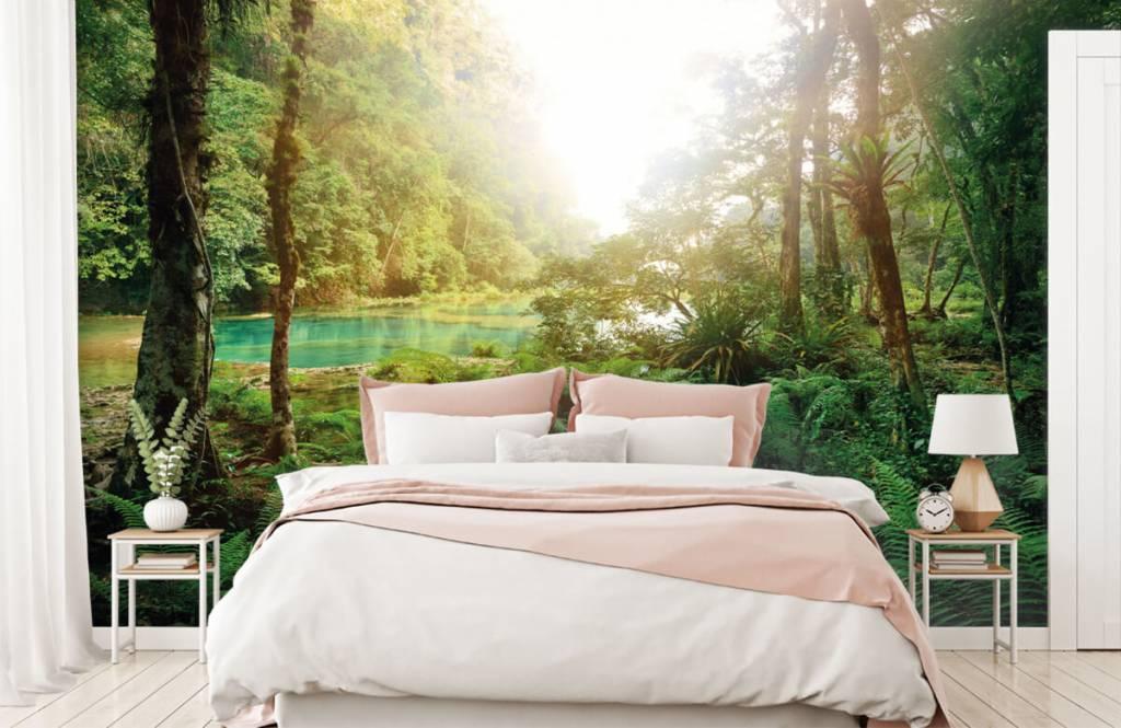 Wald Tapete - See im Dschungel - Schlafzimmer 2