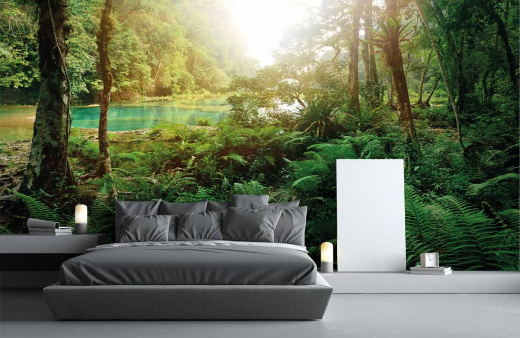 Wald Tapete - See im Dschungel - Schlafzimmer 3