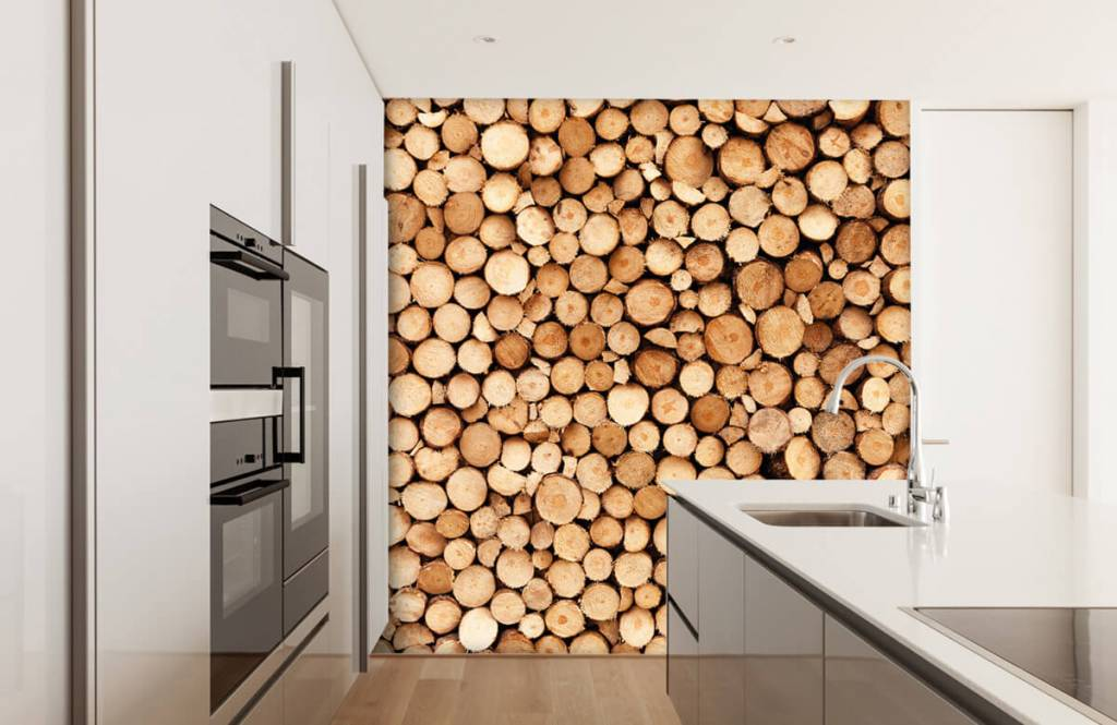 Holz Tapete - Brennholz - Wohnzimmer 1
