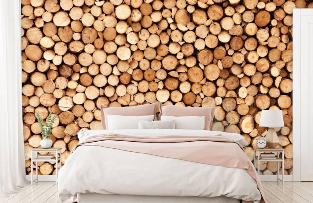Holz Tapete - Brennholz - Wohnzimmer 2