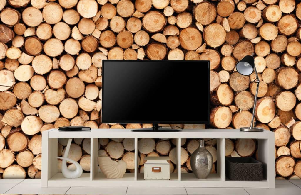 Holz Tapete - Brennholz - Wohnzimmer 3