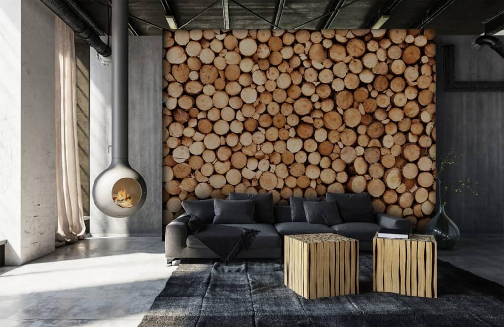 Holz Tapete - Brennholz - Wohnzimmer 5