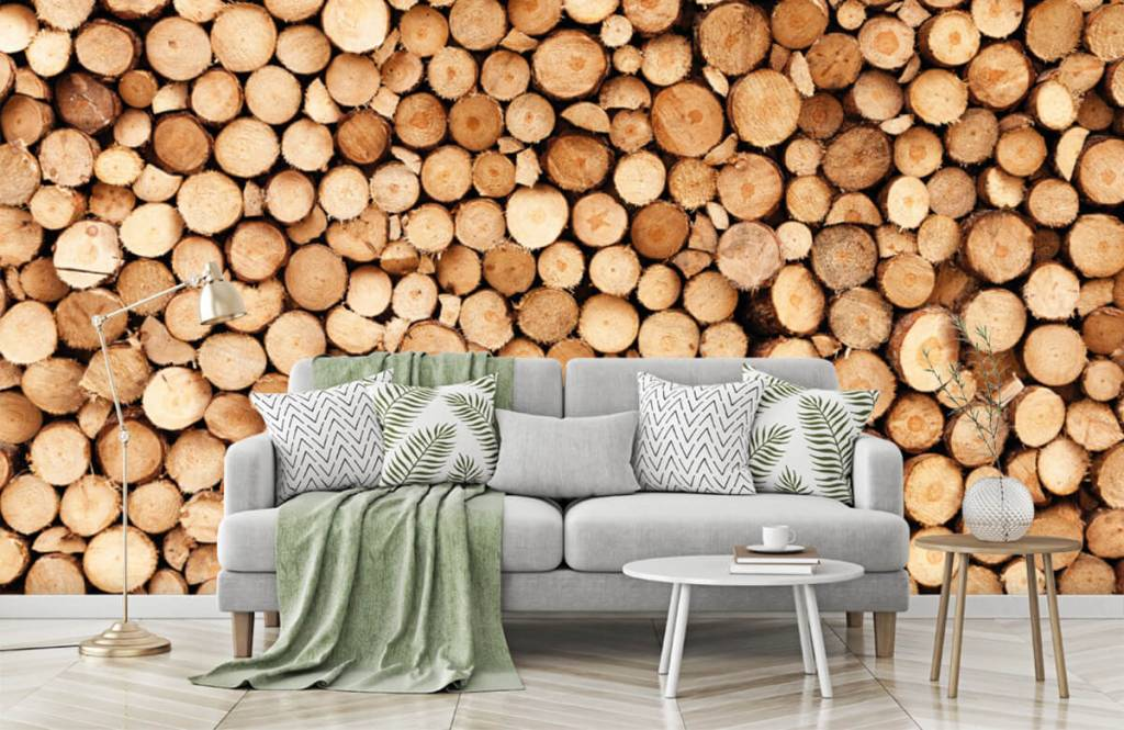Holz Tapete - Brennholz - Wohnzimmer 7