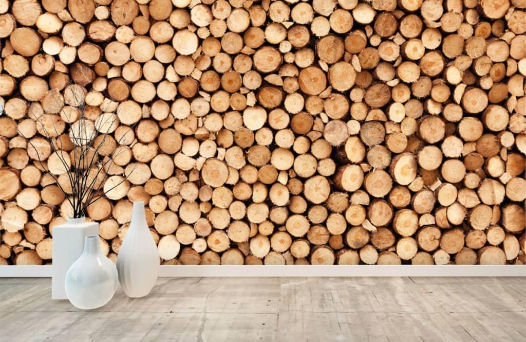 Holz Tapete - Brennholz - Wohnzimmer 8