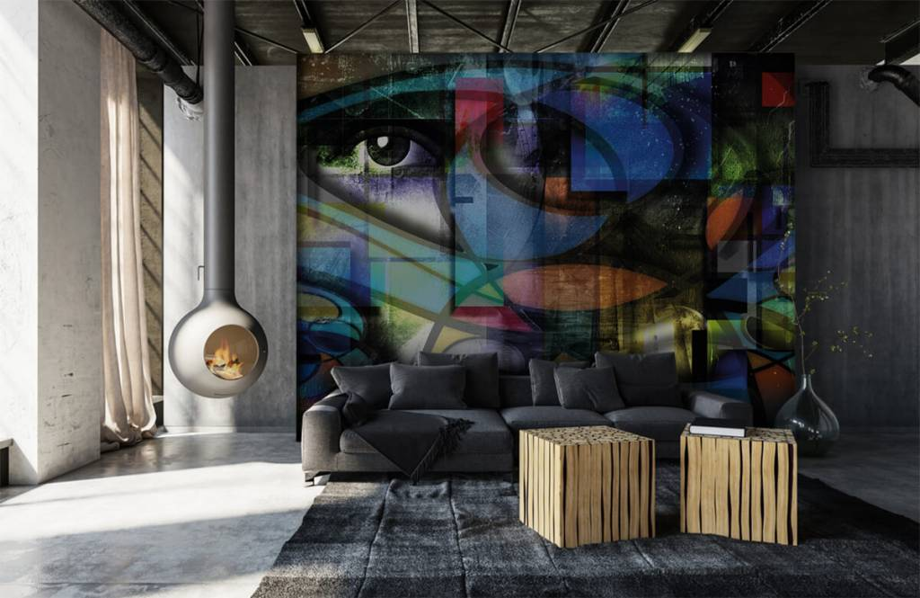 Moderne Tapete - Abstraktes Gesicht - Wohnzimmer 1