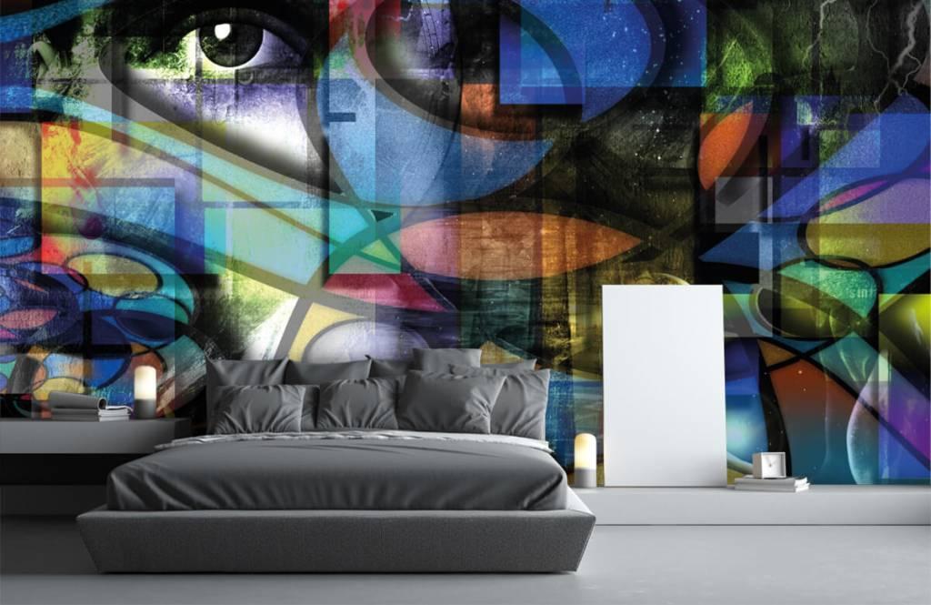 Moderne Tapete - Abstraktes Gesicht - Wohnzimmer 2