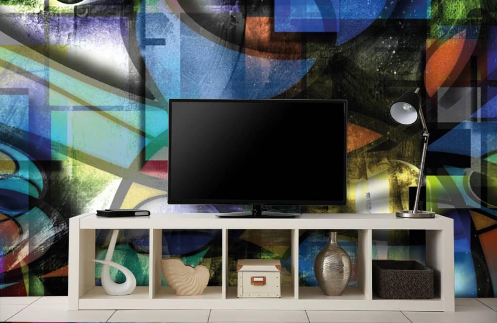 Moderne Tapete - Abstraktes Gesicht - Wohnzimmer 3