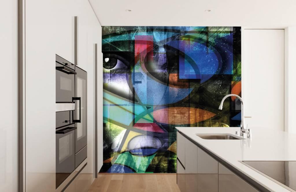 Moderne Tapete - Abstraktes Gesicht - Wohnzimmer 4