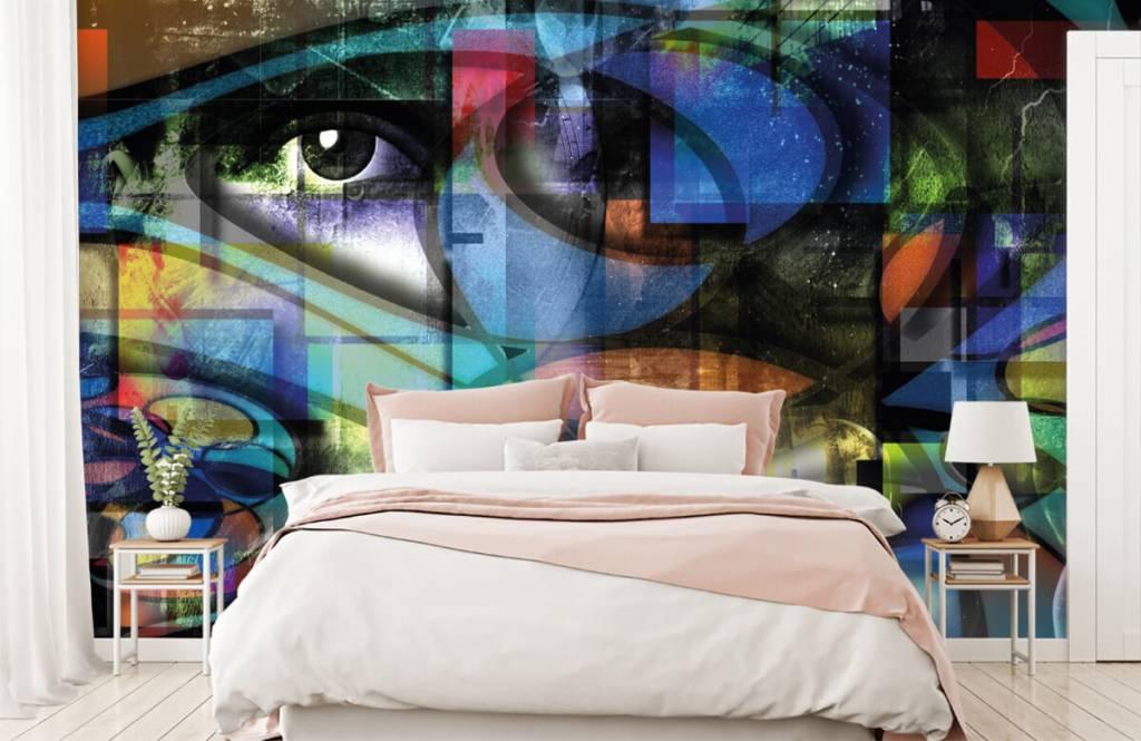 Moderne Tapete - Abstraktes Gesicht - Wohnzimmer 5