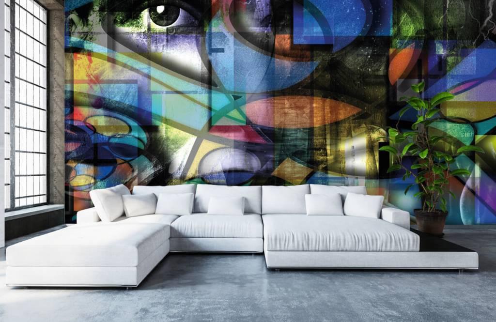 Moderne Tapete - Abstraktes Gesicht - Wohnzimmer 6