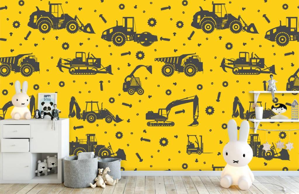 Jungenzimmer Tapete - Bauverkehr gelb - Kinderzimmer 1
