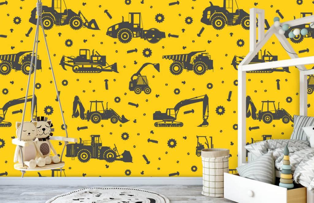 Jungenzimmer Tapete - Bauverkehr gelb - Kinderzimmer 4