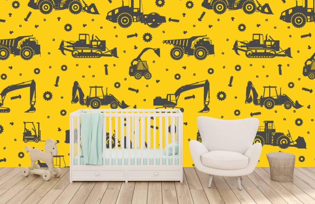 Jungenzimmer Tapete - Bauverkehr gelb - Kinderzimmer 5