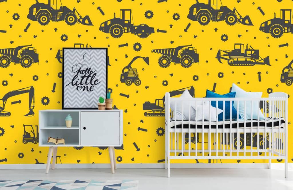 Jungenzimmer Tapete - Bauverkehr gelb - Kinderzimmer 6