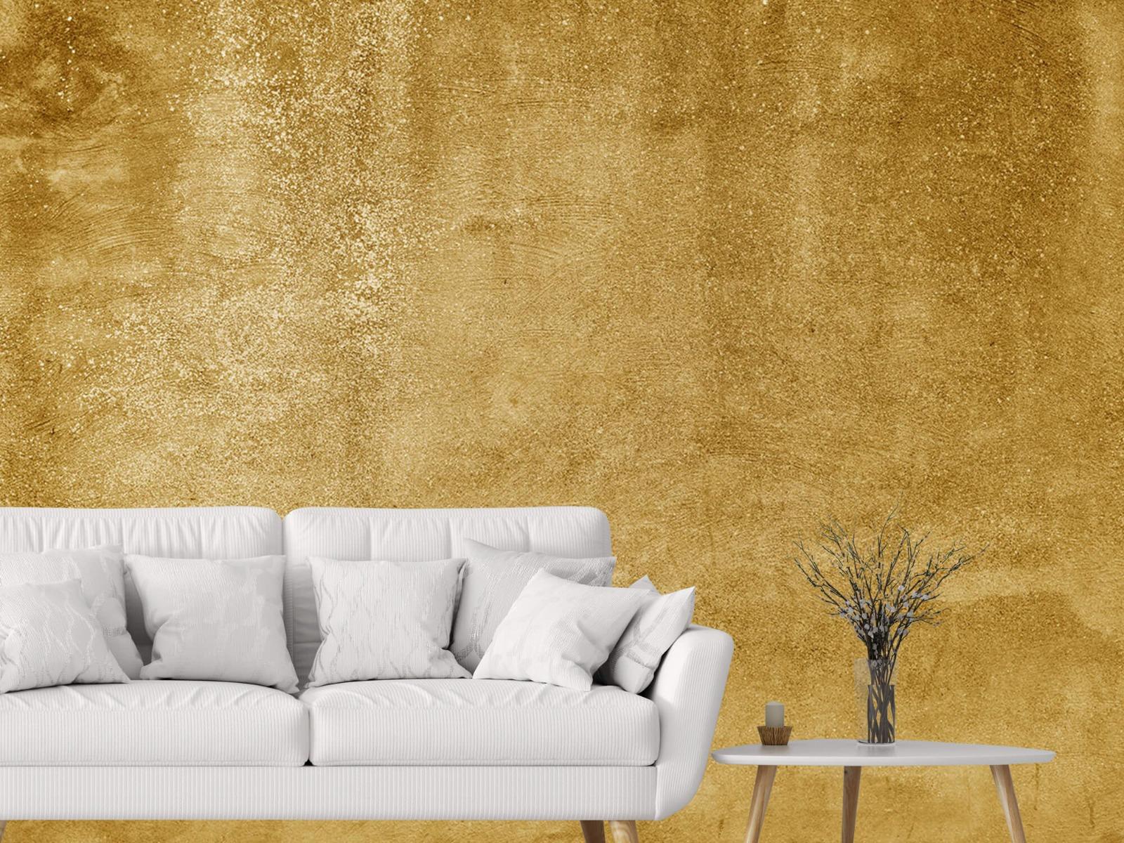 Betonoptik Tapete - Ockerhaltiger gelber Beton auf Fototapete - Wohnzimmer 4