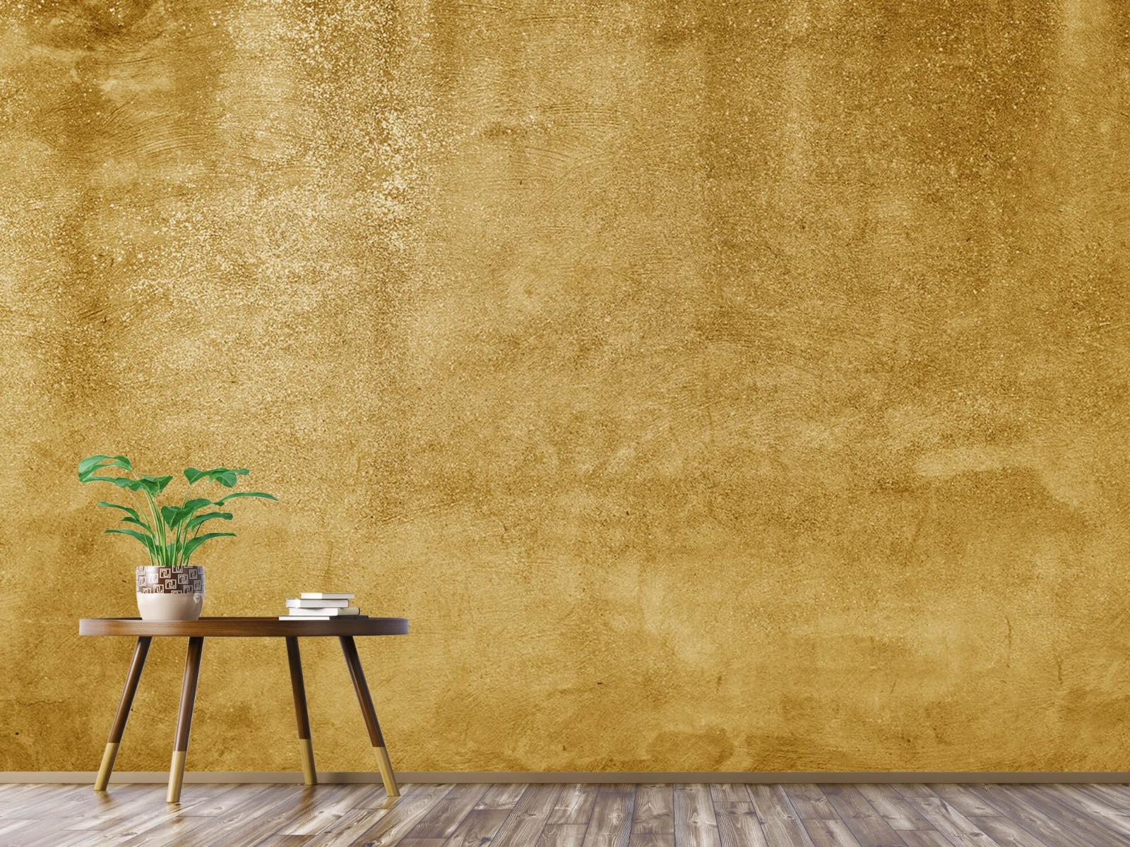 Betonoptik Tapete - Ockerhaltiger gelber Beton auf Fototapete - Wohnzimmer 5