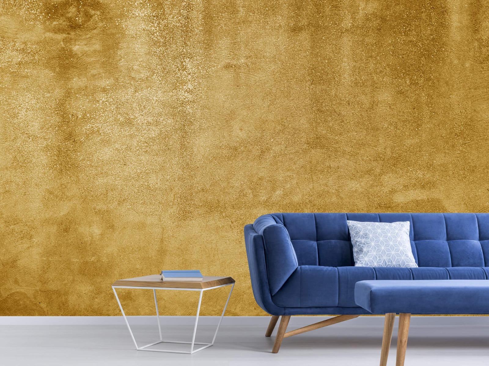 Betonoptik Tapete - Ockerhaltiger gelber Beton auf Fototapete - Wohnzimmer 6