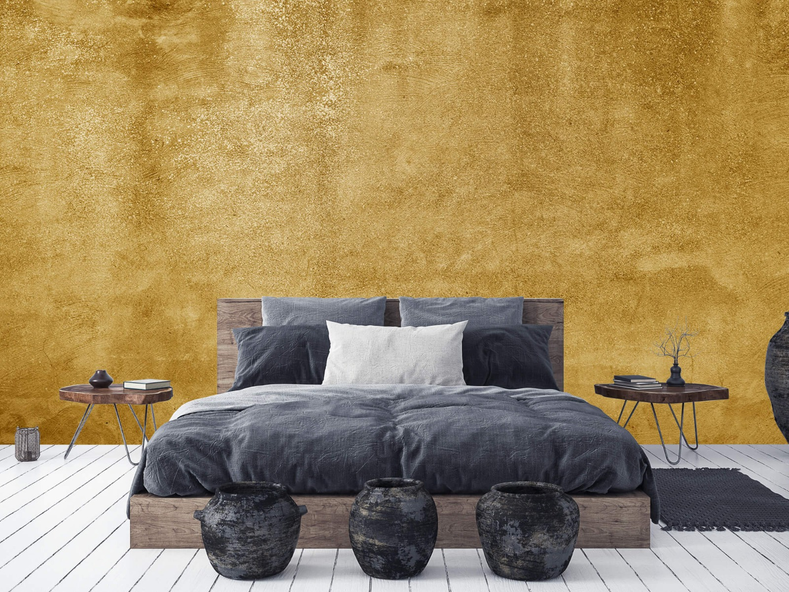 Betonoptik Tapete - Ockerhaltiger gelber Beton auf Fototapete - Wohnzimmer 2