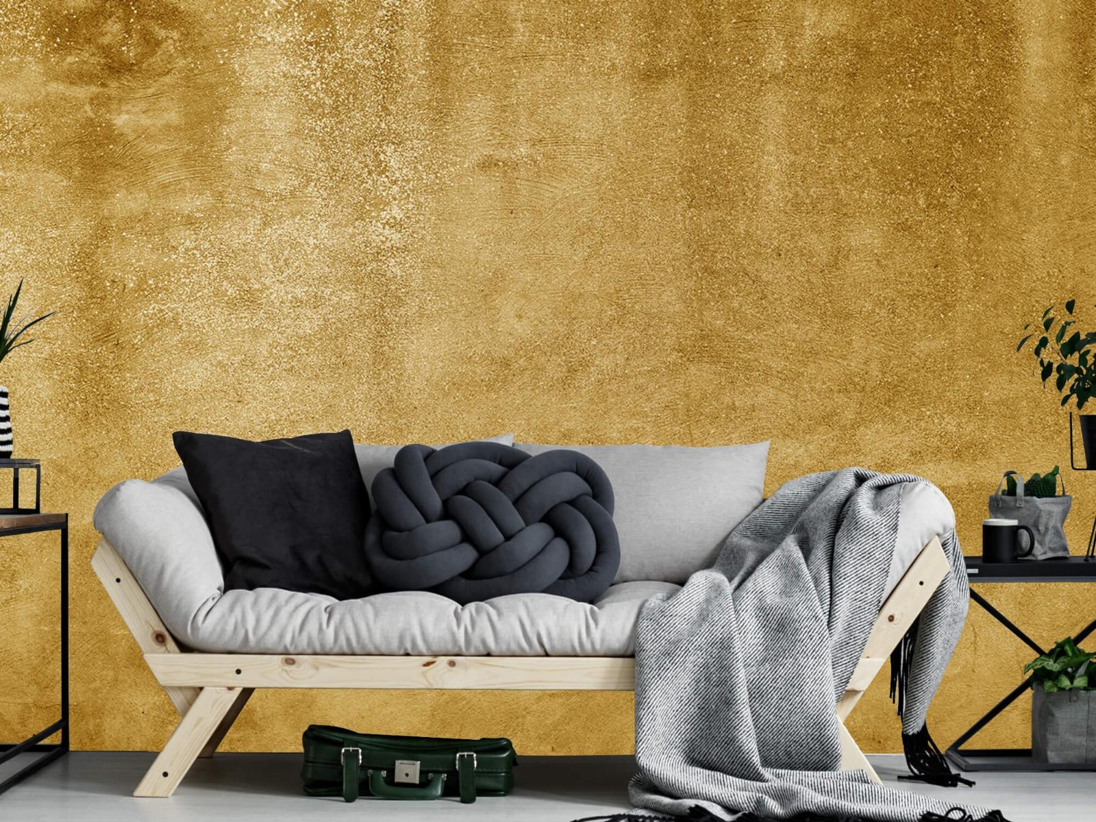 Betonoptik Tapete - Ockerhaltiger gelber Beton auf Fototapete - Wohnzimmer 7