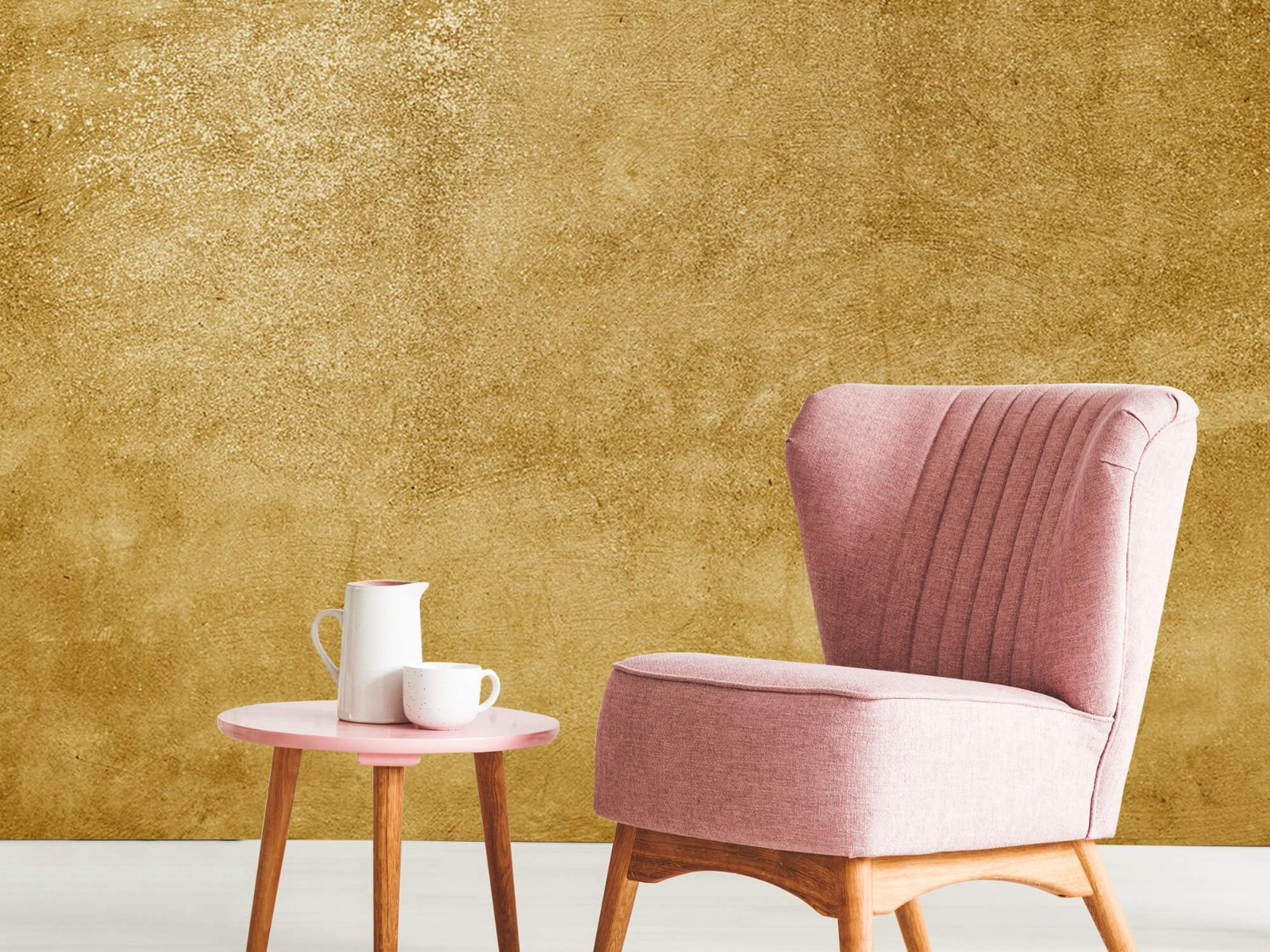 Betonoptik Tapete - Ockerhaltiger gelber Beton auf Fototapete - Wohnzimmer 9